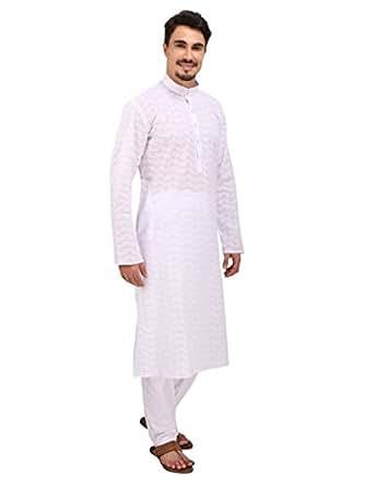 Rajubhai Hargovindas Men's Cotton Chikan Embroidered Kurta