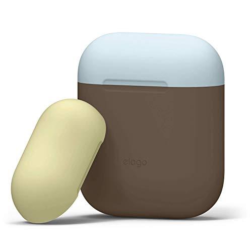 elago Custodia Doppia Compatibile con Apple AirPods 1 & 2 (LED anteriore Non Visibile) - [Con Due Cappucci Colorati Diversi] [Funziona la Ricarica Wireless] - (Marrone scuro/Giallo, Blu pastello)