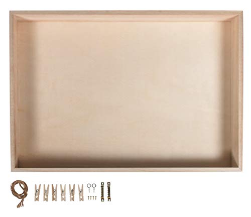 Rayher 62817000 Holz-Rahmen mit Holz-Rückwand, 36x25 cm, Tiefe 5 cm, mit Kordel, Aufhänger, Schrauben, Klammern für Dekorationen, ohne Glas