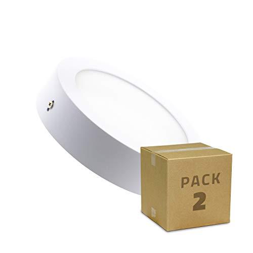 Pack 2 Plafones LED Circular 12W Blanco Neutro 4000k-4500K efectoLED