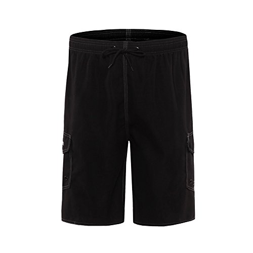 Clothin Outdoor Water Sports Men's Surfing Boardshorts With Pocket Swim Shorts/Trunks Beach Short(Black(Elastic),UK 32)