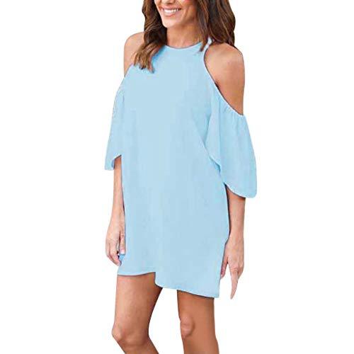 POPLY T-Shirts für Damen Frauen Sommer Kalte Schulter Rüschen-Kurzschluss Hülsen Lange Tops Einfarbig Kurzarm Oberteile(Hellblau,XL)
