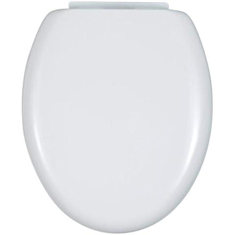 WENKO 115008100 Asiento tapa WC Bassano Easy Close - dispositivo automático de descenso, sujeción de plástico, Thermoplast, 38 x 43.8 cm,
