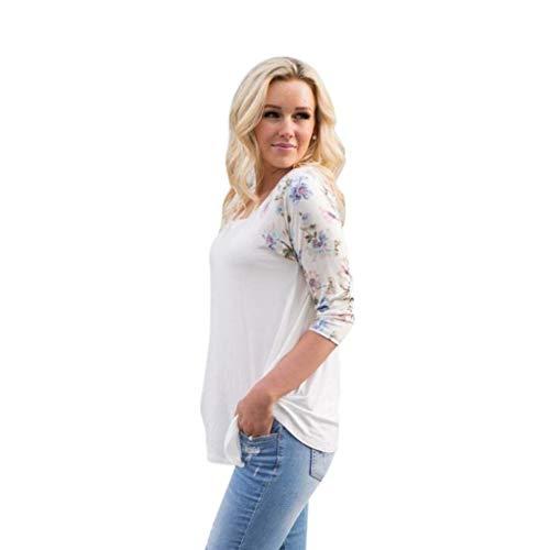 Sweatshirts Ladies Sport Pullover Rundhalsausschnitt Floral Prints Spitze Perfect Casual Elegant Langarm T Shirt Ganzjahresartikel Tops Style (Color : Weiß, Size : 4XL)