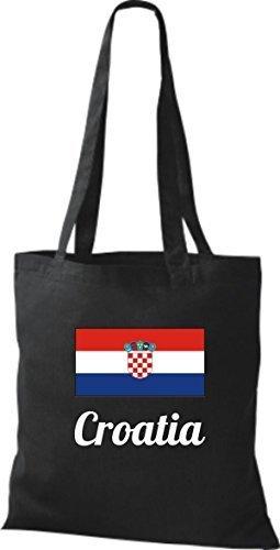 ShirtInStyle Stoffbeutel Baumwolltasche Länderjute Croatia Kroatien Farbe Pink schwarz