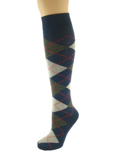 MySocks® Knie hoch Argyle Socken Marine Dunkel Anthrazit Aschen Rote Linie