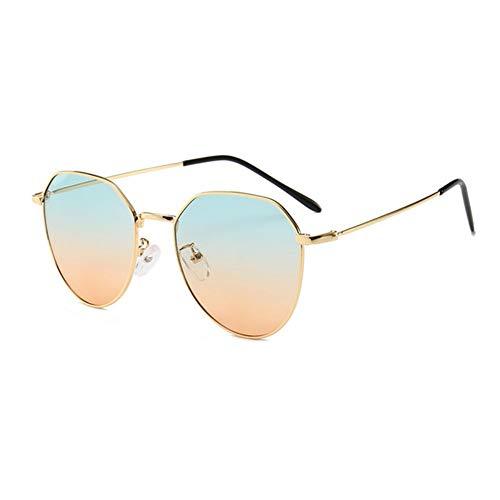 MJDABAOFA Sonnenbrillen,Neue Piloten Sonnenbrille Unisex Sonnenbrille Gold Frame Blau Und Orange Linse Brillenmode Shades Sonnenbrille Männer Frauen Brillen Uv400