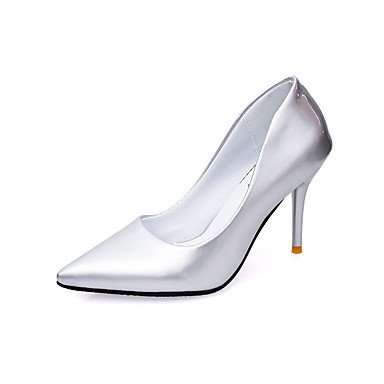Talloni delle donne Primavera Estate Autunno Inverno Club Scarpe Comfort PU Wedding Patent Leather ufficio & carriera di feste ed abito da sera CasualStiletto Silver