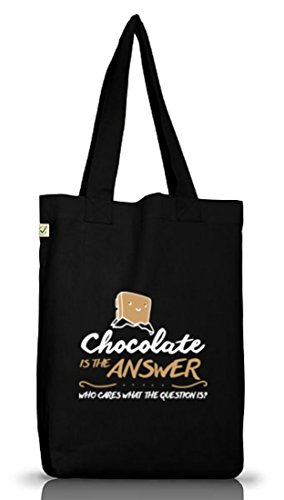 Shirtstreet24, Chocolate Is The Answer, Jutebeutel Stoff Tasche Earth Positive (ONE SIZE) Black