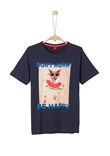 s.Oliver Jungen 62.906.32.5772 T-Shirt, Blau (Dark Blue 5874), 164 (Herstellergröße: L/REG)