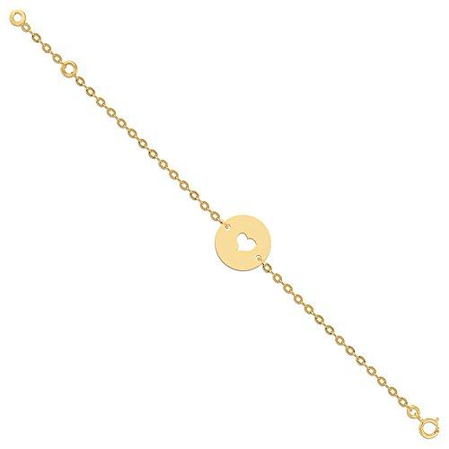 Orleo - REF10986BB : Bracelet Enfant Or 18K jaune - Coeur 14 cm - Fabriqué en France