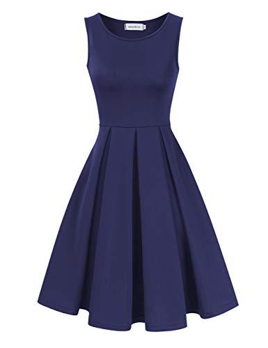 Clearlove 1950er Vintage Polka Dots Pinup Retro Rockabilly Kleid Cocktailkleider,Dunkelblau XL - Elegante A-linie Kleid