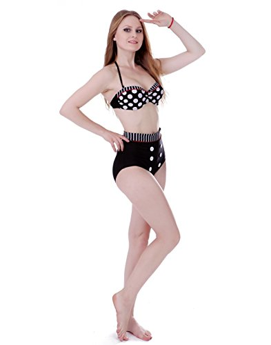 BOOLAVARD Frauen Weinlese 50s Pin Up Girl Rockabilly hohe Taillen Retro Bikini Badeanzug Set Polka Dot w/ Red Trim