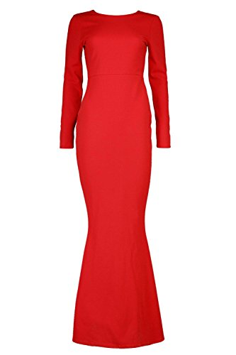 YPO Womens Red Timi Long Sleeve Open Back Maxi Dress