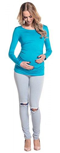 Happy Mama. Damen Umstands Top Tunika. Jersey Oberteil für Schwangere. 947p Türkis
