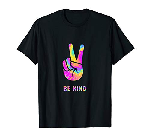 Be Kind - Tie Dye Hand Peace Sign Hippy T-Shirt
