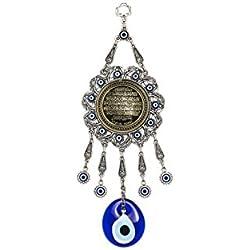 Wanddeko Wandschmuck Deko - Nazar Boncuk Evil Eye - Gebet Ayetel Kürsi Muslim Islam - Glücksbringer blaues Auge
