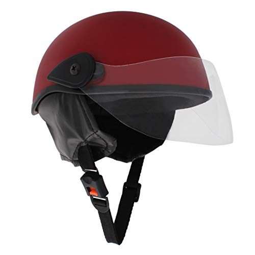 Sage Square Scooty Half Helmet for Men, Women (Red Matte, Large)