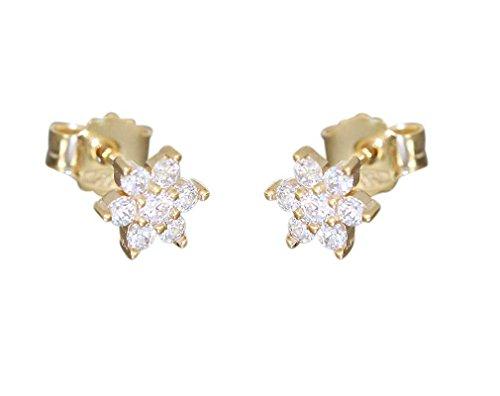 Hobra-Gold Kinder Stern Ohrstecker Gold 585 mit Zirkonias Goldohrstecker Ohrringe Blumen