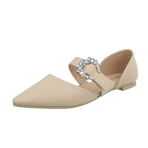 Funkelnde Fee Kostüm - Ital-Design Klassische Ballerinas Damen-Schuhe Blockabsatz Schnalle