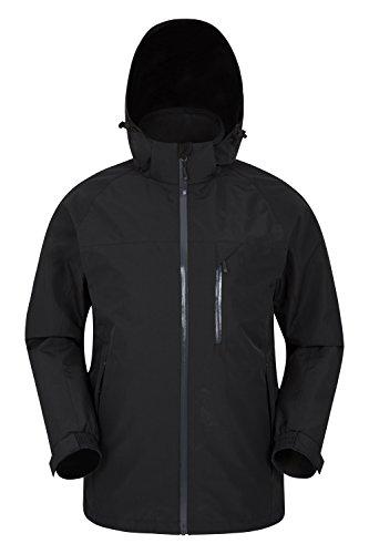 Mountain warehouse giacca impermeabile da uomo brisk extreme - cappuccio e polsini regolabili, impermeabile con cuciture nastrate, giacca invernale traspirante - camping nero large