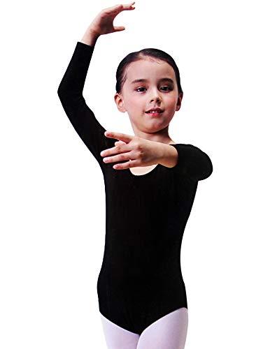 Furein Maillot de Danza Ballet Gimnasia Leotardo Body Clásico Elástico para Niña de Manga Larga Cuello Redondo (6 años, Negro)