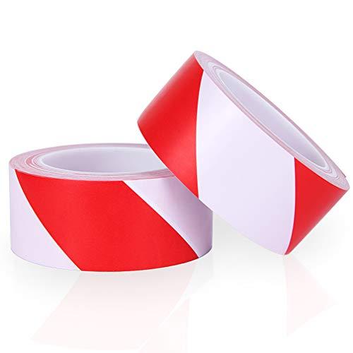Warnband rot und weiß, 2 Stück 50 mm x 20 m PVC Sicherheitsband Markierungsband Absperrband Klebeband