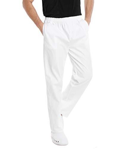 WWOO Uomo Pantalone da Lavoro Bianco Puro Cotone Pantaloni Medical Pantaloni da Infermiere Opaco pantalaccio con Elastico Materiale Sottile XXL