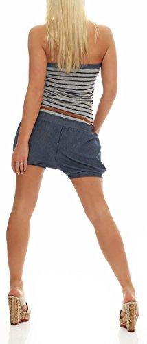 kurzer Marine Jumpsuit im Jeans-Look 9646 Damen One Size (dunkelgrau) - 3