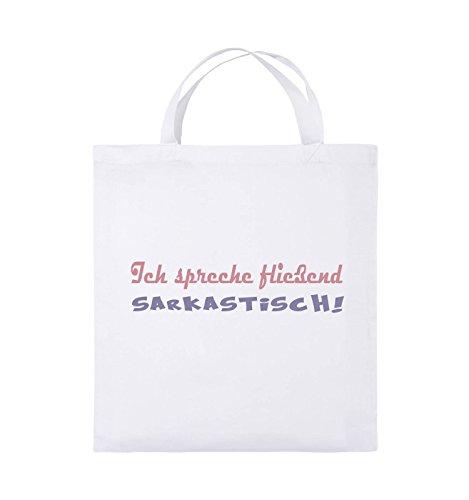 Comedy Bags - Ich spreche fließend Sarkastisch! - Jutebeutel - kurze Henkel - 38x42cm - Farbe: Schwarz / Weiss-Neongrün Weiss / Rosa-Violet