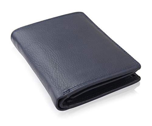 Schlichte Geldbörse aus echtem Nappa Leder mit RFID Schutz, 15 Kartenfächern und Münzfach im Hochformat, Schwarz