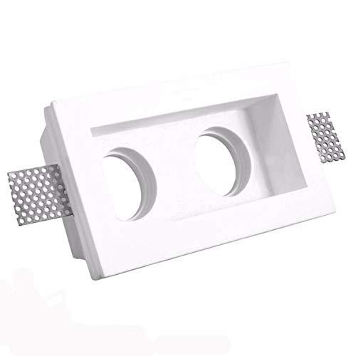 Aplique de yeso doble rectangular para encastrar en el techo, agujero 250x150x60mm,...