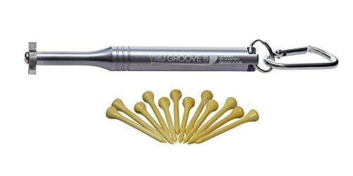 trugroove 6Head Golf Club Groove Spitzer-Steinen und verbesserte Ball Kontrolle-Keile und Bügeleisen-mit 12GRATIS Premium Bambus Tees, Silber -