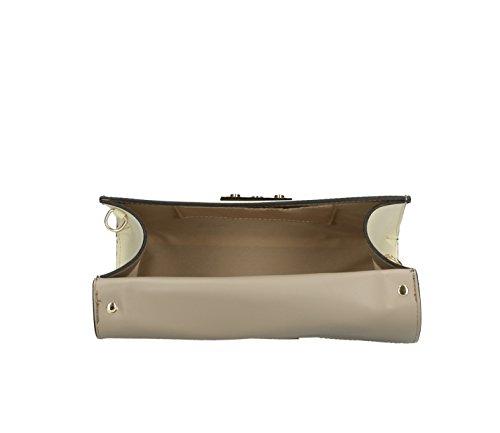 Frauen klassische Handtasche Henkeltasche Schultertasche aus echtem Leder, Hergestellt in Italien 27x19x11cm Taupe-Beige