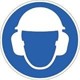 Aufkleber Gehörschutz und Kopfschutz benutzen ISO 7010 Ø 10 cm