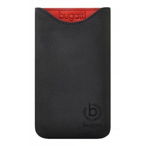 Bugatti Skinny Universal Ledertasche glowing coal schwarz für Samsung Galaxy S4, Xony Xperia Z5 compact uvm. - XL [Echtleder | Frische Farben | SlimFit Design] - 07955