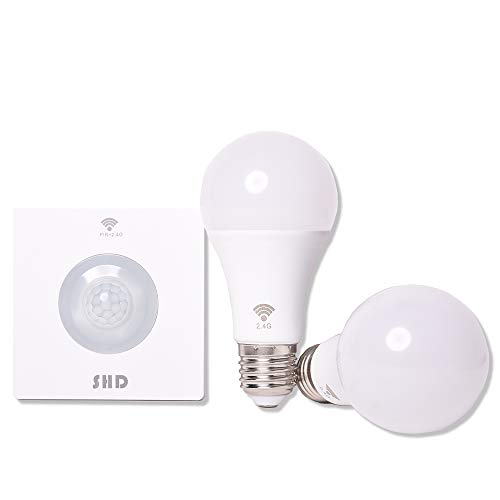 SHD LED E27 Glühbirne 2er SET mit kabellosem Sensor, schnurloser Bewegungsmelder, 6-8m Entfernung, Farbtemp. 4000K, 9 Watt, 800 Lumen