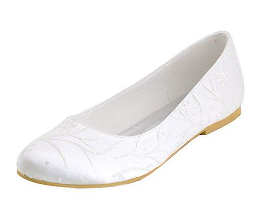 MINITOO , Damen Tanzschuhe, weiß - White-1cm Heel - Größe: 40 - Glitter Bow Flats Schuhe