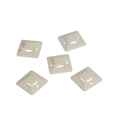 LogiLink KAB0042 Lot de 100 Supports d'attaches de câble auto-adhésives 20 mm x 20 mm