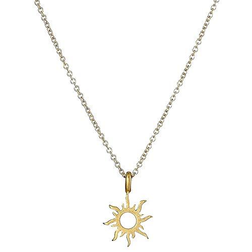 kanggest Damen Halskette Weisefrauen Sonne design Anhänge Kristallrhinestone-nette hängende Strickjackehalskette Kette Schmuck