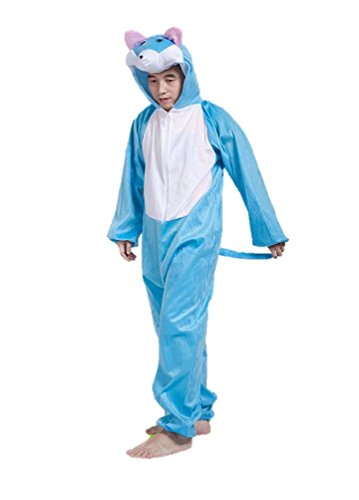 Erwachsene Tierkostüme Unisex Pyjamas Kostüm Outfit Cosplay Onesies (Blaue Katze)