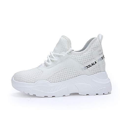 ceae8671422b AONEGOLD Womens Hidden Wedge Trainers Platform Lace Up Sneakers Casual High  Heel Walking Shoes(White