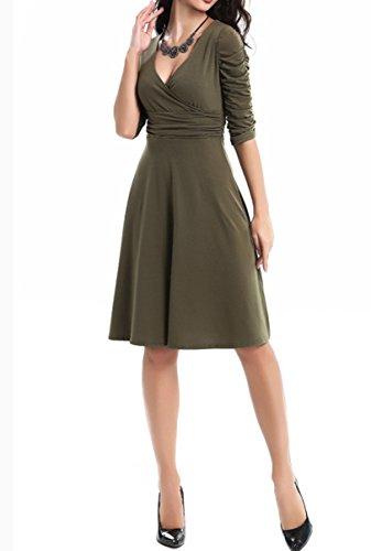 ... DoubleYI Damen Mini Skaterkleid V-Ausschnitt 3/4 Ärmel Basic Kleider  A-Linie