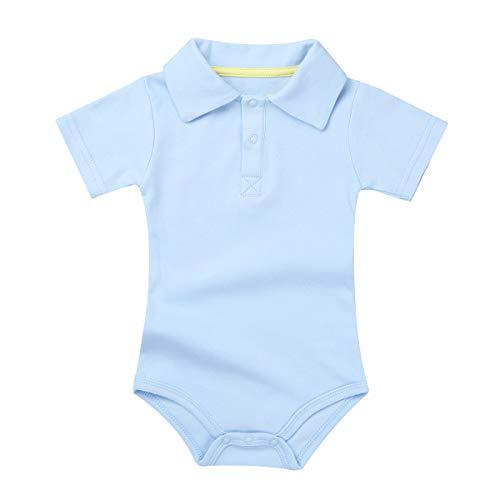 CHICTRY Baby Jungen Strampler Overall Body Baumwolle Shirt Hemd-Body Anzug Sommer mit Druckknöpfen Geburtstag Geschenk Freizeit Kleidung Gr.62-86 Himmelblau 80-86/12-18 Monate (Größe 6 Jungen Kurzarm-shirts)