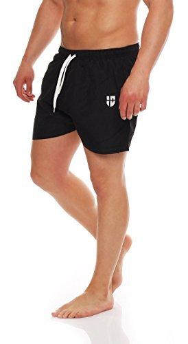 Gennadi Hoppe Herren Badeshorts kurz Badehose Strand Shorts Boardshorts,schwarz,X-Large