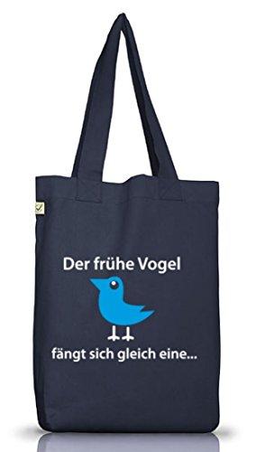 Shirtstreet24, Der frühe Vogel fängt sich gleich eine, Jutebeutel Stoff Tasche Earth Positive Jeans Blue