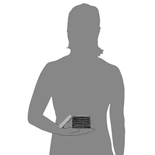 Sänger Schiefer Untersetzer Set 8 teilig 10x10cm Tisch Untersetzer Servierplatten | 4 Gummifüße zum Schutz Ihrer Oberflächen | Robustes Design mit edler Optik