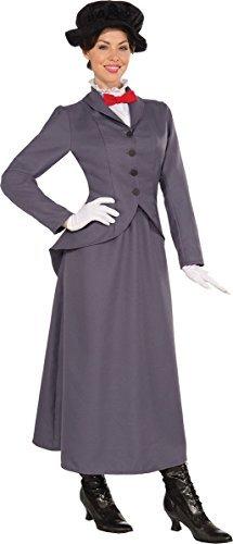 Erwachsene Weihnachtsfeier Mary Poppin Edwardianisch Nanny Damen Komplettes Outfit Grau (Kostüme Damen Edwardian)