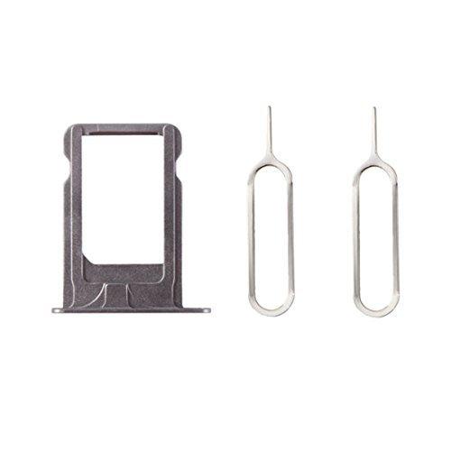 XcellentFixParts Support de Plateau de Carte Sim de Remplacement Nano Tray Holder pour iPhone 5S(Gris) + 2 SIM Card Eject Pins