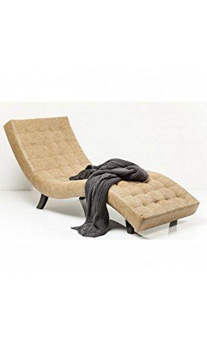Kare Design - Fauteuil Design Effet Cuir Beige capitonné Snake Slumber Stone